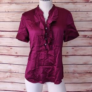 Theory Silk Blend Button Down Blouse with Ruffle